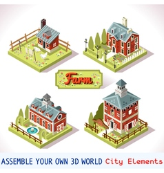 Farm tiles 02 set isometric vector