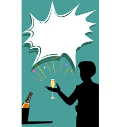 Silhouette man with champagne glass in hand vector