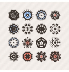 Set of ornate mandala symbols gothic lace vector
