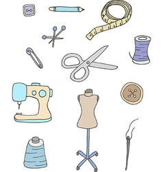 Set of sewing equipment vector