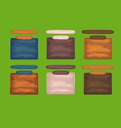 Wooden window for game interface with header vector