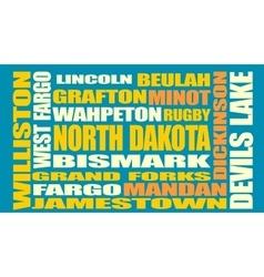 North dakota state cities list vector