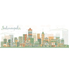 Abstract indianapolis skyline with color buildings vector