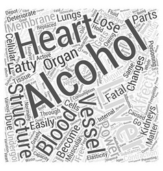 Action of alcohol on internal organs word cloud vector