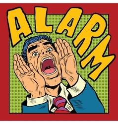 Alarm screams pop art man vector image vector image
