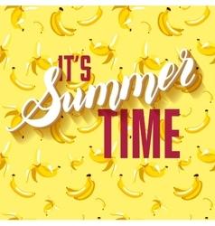 Banana fruit summer lettering background vector