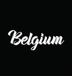 Belgium text design calligraphy vector