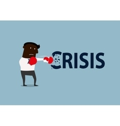 Black businessman boxing with crisis vector image