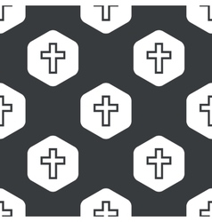 Black hexagon cross pattern vector