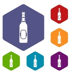 Bottle of beer icons set vector