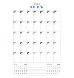Calendar planner template for 2018 year july vector