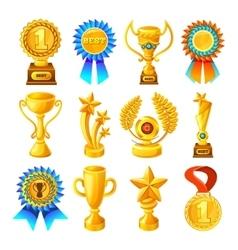 Cartoon gold reward icon set vector