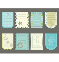 design elements for baby scrapbook - cute tags wit vector image