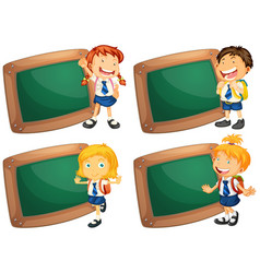 four wooden frames with schoolkids vector image