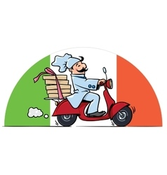 Funny chef on scooter pizza delivery vector