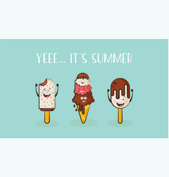 Funny ice cream characters vector