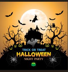halloween night party orange holiday festival vector image