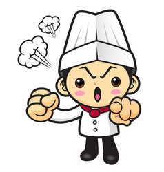 Head cook character put somebody out isolated on vector