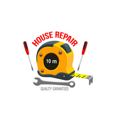 house repair icon with work tool and tape measure vector image
