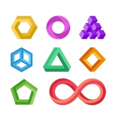 Impossible geometric shapes set vector image vector image