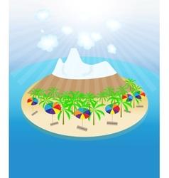 Island palm trees sun umbrellas seamless pattern vector image vector image