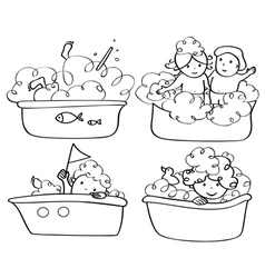 Kids bath contour vector
