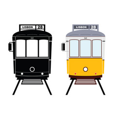 lisbon tramway in black and yellow color vector image vector image