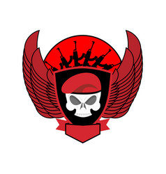 military emblem skull in beret wings and weapons vector image vector image