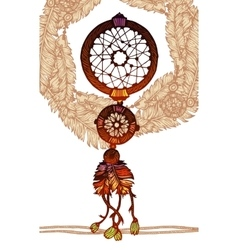 Native american indian traditional dream catcher vector