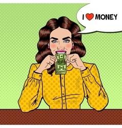 Pop art successful beautiful woman eating money vector
