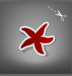 sea star sign red icon with for applique vector image