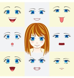 Set of faces in manga style vector image vector image