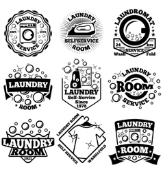 Set of laundry badges with bubbles vector