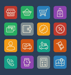 Shopping mall and delivery icons set for website vector