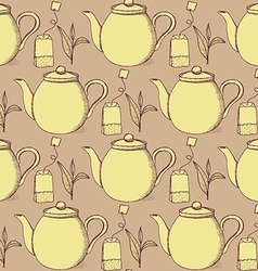 Sketch tea seamless pattern vector image vector image