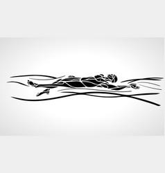swimmer backstroke black silhouette vector image vector image