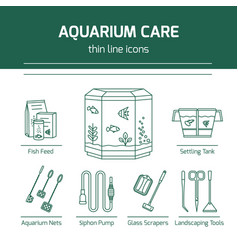 Thin line icons - aquarium care tools vector