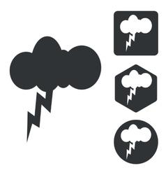 Thunderbolt icon set monochrome vector