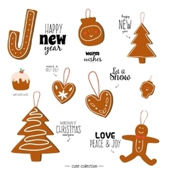 Vintage christmas and new year holidays elements vector