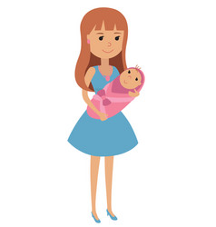 young mother with a newborn baby in her arms vector image