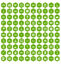 100 gas station icons hexagon green vector
