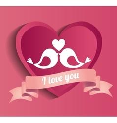 Lovely postcard love you bids heart pink vector
