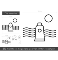 Tidal energy line icon vector