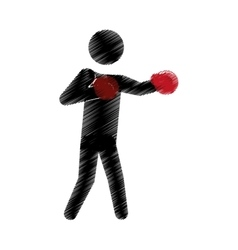 drawing colored silhouette man boxing gloves vector image