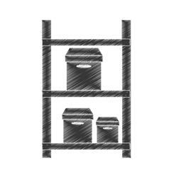 Drawing warehouse shelve boxes cargo pictogram vector