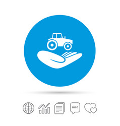 agricultural insurance sign hand holds tractor vector image