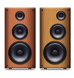 Two stereo speakers with no cover on a white vector