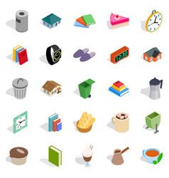 Cottage icons set isometric style vector