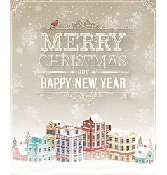 Christmas city card vector