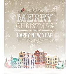 christmas city card vector image